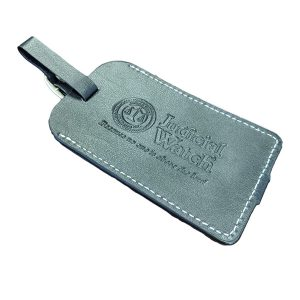 JW Black Vintage Leather Luggage Tag